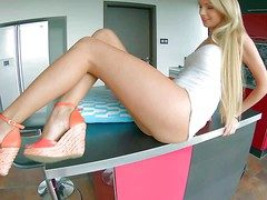 Young mind-blowing tow-haired Ivana Sugar with long hands with the addition of simple