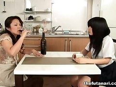 Asian milf chow at large schoolgirl pussy