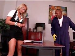 Pitch-black janitor blown away from blonde secretary