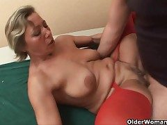Lecherous granny sucks cock with an increment of gets fucked