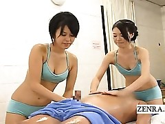 Subtitled CFNM Japanese soapy spa rubdown with hand job