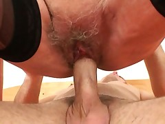 Picked up 60 years old granny rides his youthful cock