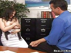 Vitiated secretary Daphne Rosen with hugely big jaw dropping hooters