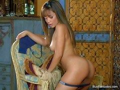 Brown haired asian beauty Luana Lani approximately blue firm pest